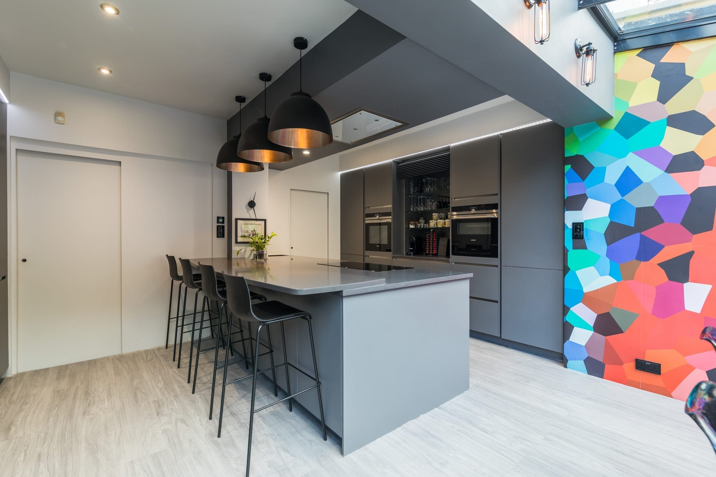 5 Handleless grey open plan kitchen - Kavanagh Designs, Worthing