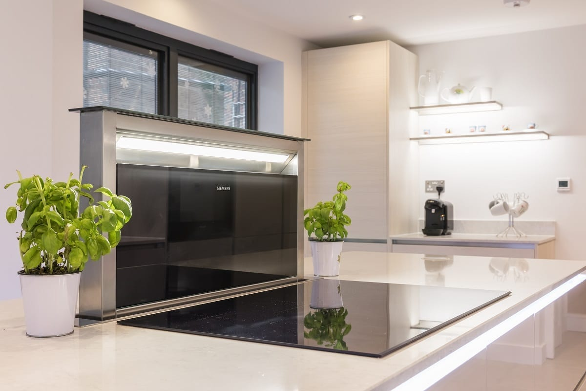 Open downdraft extractor fan and induction hob - Kavanagh Designs, Worthing