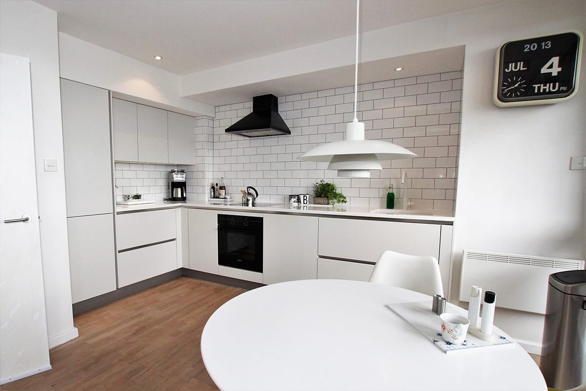 1. Small all white kitchen design - Kavanagh Designs, Worthing
