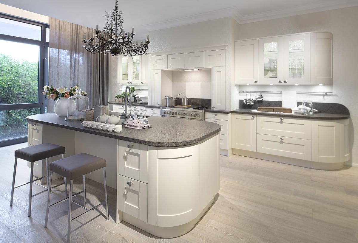 4. Cream curved Shaker kitchen with island - Kavanagh Designs, Worthing