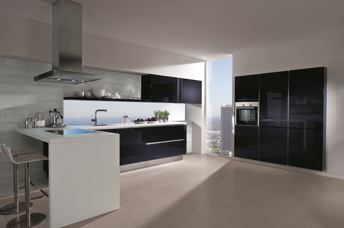 7. Blackberry high gloss glass kitchen with breakfast bar 1200 - Kavanagh Designs, Worthing